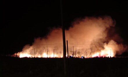 Dantesco incendio de pastizales